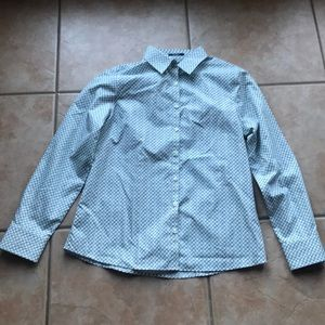NWT Lands' End Tidewater Print Button Down Top